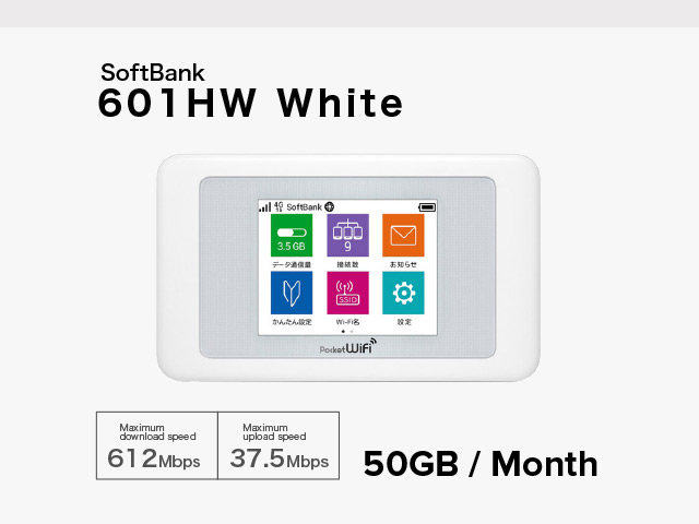 SoftBank 601HW WHITE [ 13 Days RENTAL ]